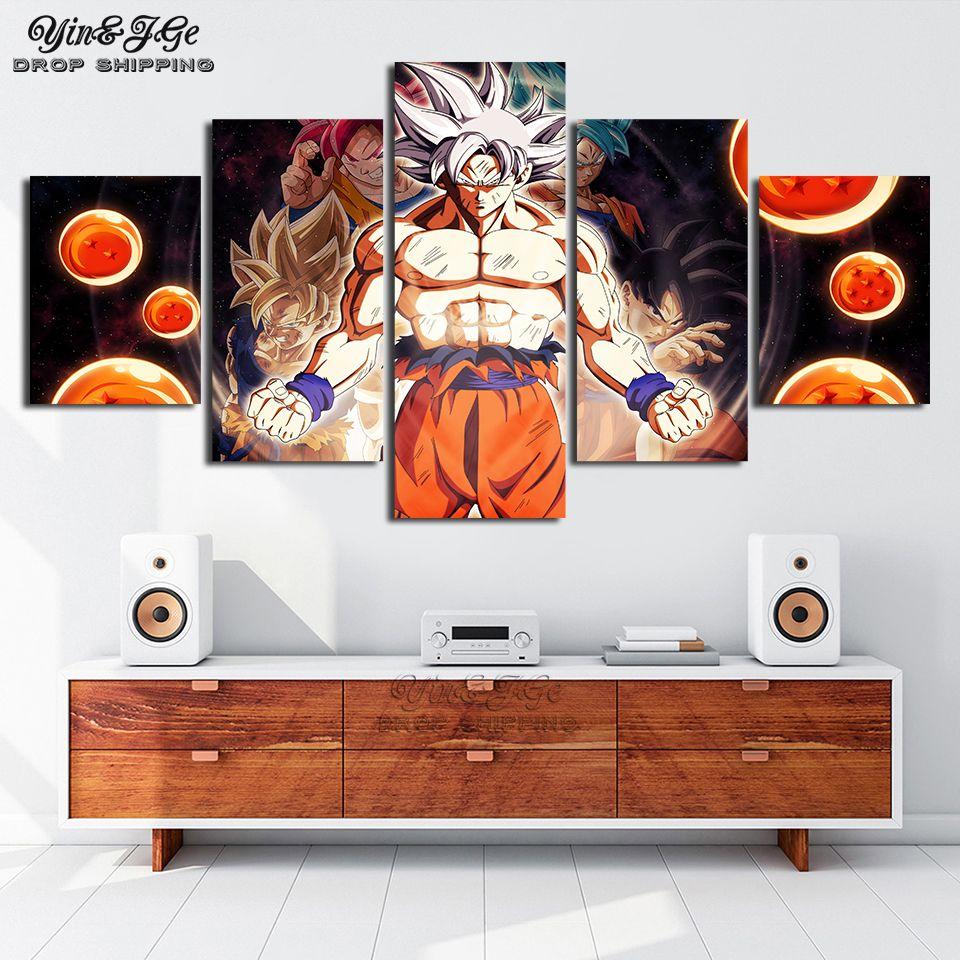 Peinture murale salon photo œuvres d'art 5 pièces Dragon Ball Super Anime toile affiche HD imprimé décor à la maison cadres modulaires
