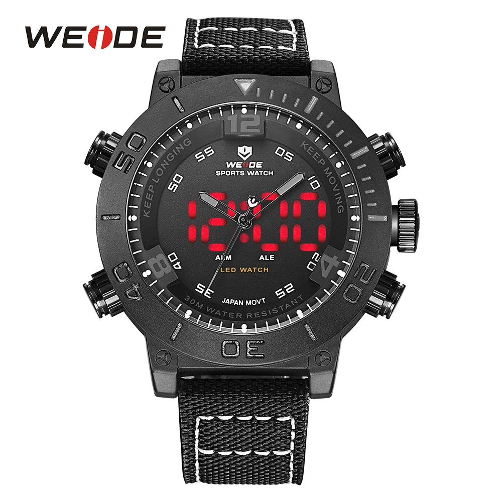WEIDE Markenuhr Männer LED Nylon Band Full Schwarz Alarm Digitaler 24 Stunden Militär Quarz Uhren Analog Sport Armbanduhr Armee uhr