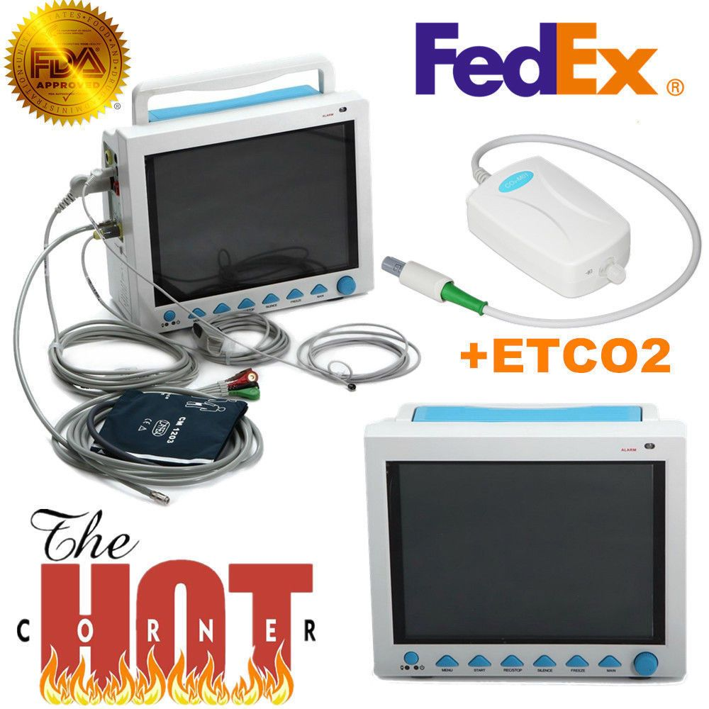 CMS8000 With Capnograph CO2 Patient Monitor ETCO2 Vital Signs 7 Parameters USA