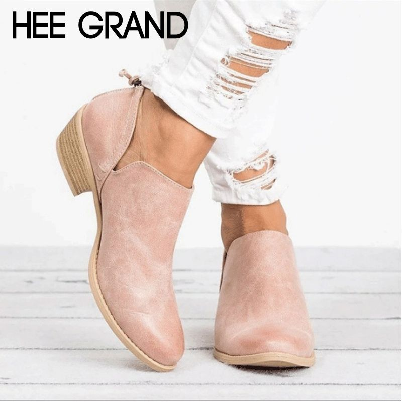 HEE GRAND Women Winter Boots Slip On Women Causal Ankle Boots Platform Shoes Woman Creepers Rubber Flats Plus size 35-43 XWX6903