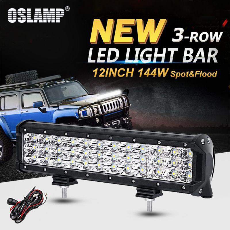 Oslamp 12 pouces 144 W 3-Rangée Droite lumière led Bar Offroad Combo Faisceau led Light Work Truck SUV ATV 4x4 4WD 12 v 24 v led feu de route