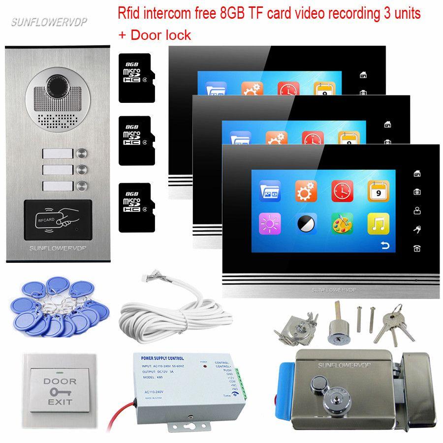 Rfid Keyfob Home Video Door Phone Video Call 8GB TF Video Recording 3 Indoor Monitors Video Eyes For The Door With Door Lock Kit