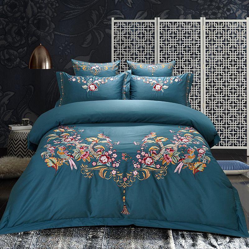 Aristokratischen luxus Ägypten Baumwolle Stickerei Königlichen Betten gesetzt weichen seidige Königin King Size Bettbezug set Bettwäsche bettlaken 4 stücke