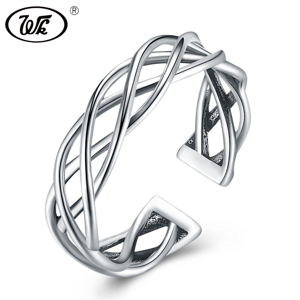 WK NEUE Echtem 925 Sterling Silber Schmuck Weave Öffnen Vintage Ring Silber Einstellbare Geflochtene Ringe Für Frauen Mädchen Geschenk W4 NRY01