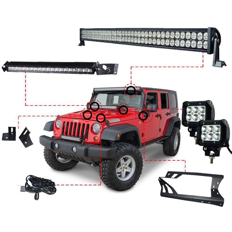 RACBOX 52INCH 300W LED Light Bar 1 X Windshield Mount Bracket 2 x 18w Work Light A-Pillar 1 x 100W For Jeep Wrangler JK 07-15