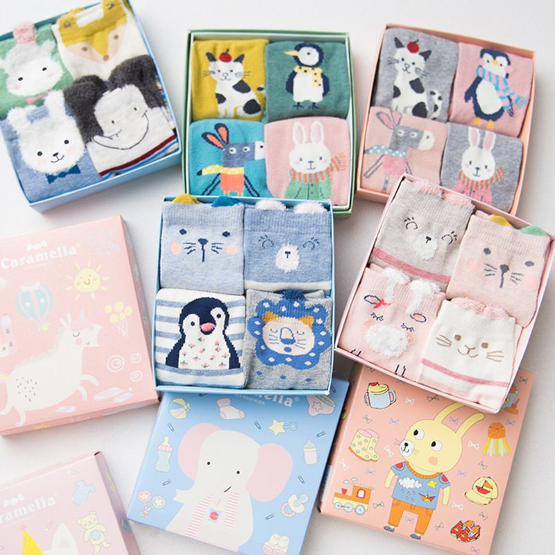 Caramella 2017 4pairs/box Cotton lovely Christmas Warm Cute 3d Animal Patterns Cartoon Socks Women Stretch Free Shipping 512604