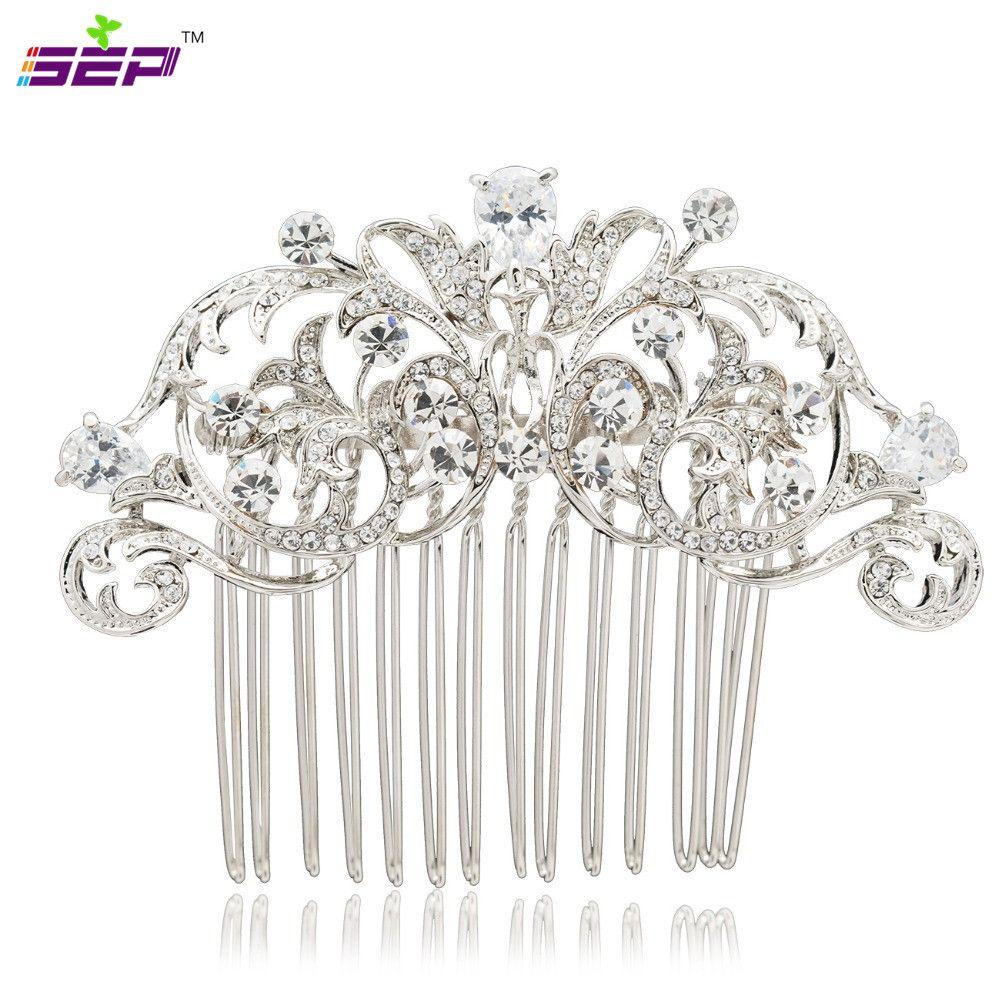 Strass clair cristaux cheveux côté peigne épingle à cheveux de mariée femmes mariage cheveux bijoux accessoires 2253R