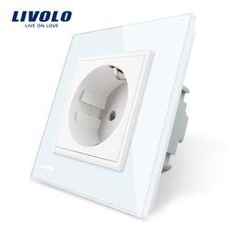 Livolo ЕС Стандартный Мощность разъем, белый кристалл Стекло Панель, AC 110 ~ 250 В 16a стены Мощность гнездо, vl-c7c1eu-11
