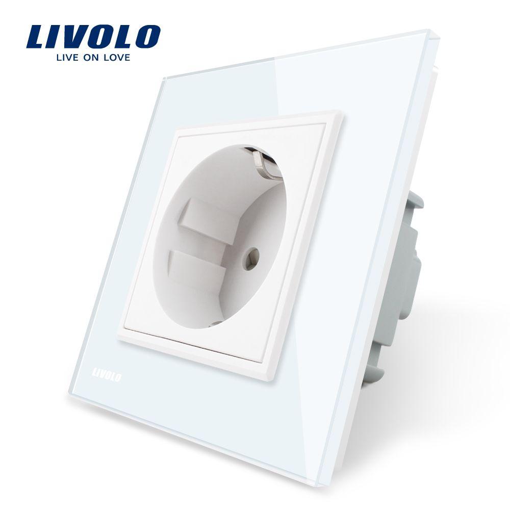 Livolo EU Standard Power Socket, White Crystal Glass Panel, AC 110~250V 16A Wall Power Socket, VL-C7C1EU-11