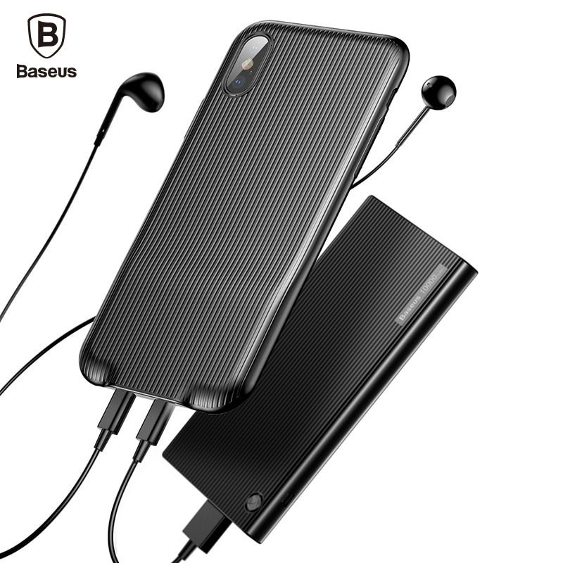 Baseus Audio Case For iPhone X 10 Earphone Headphone Adapter Splitters Aux Back Cover Case Support Music Call Charging Sync Data