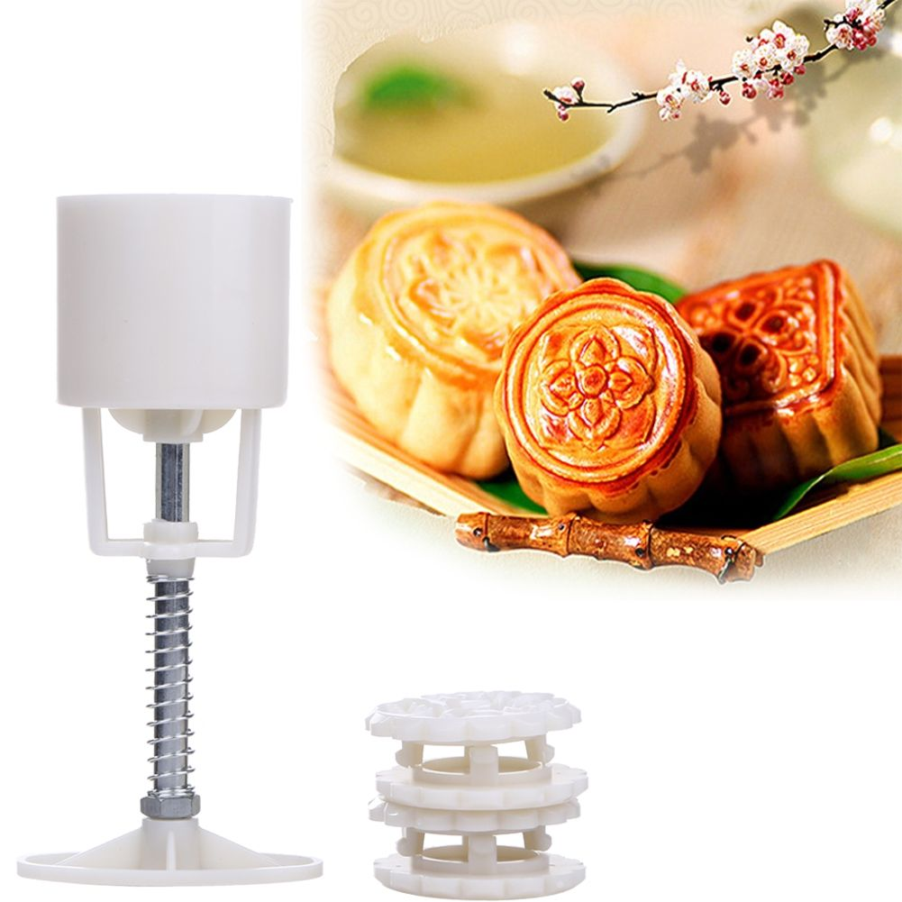 50g 4+1 Chinese flowers Mooncake Mold Hand Pressure Mould 1 Barrel 4 Stamps DIY fondant candy Cake Decoration Tool