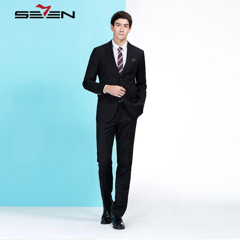 Seven7 Luxury Brand Men Wedding Suit Male Blazers Slim Fit Tuxedo Costume Business Formal Party Black Jacket Pants 706C18800