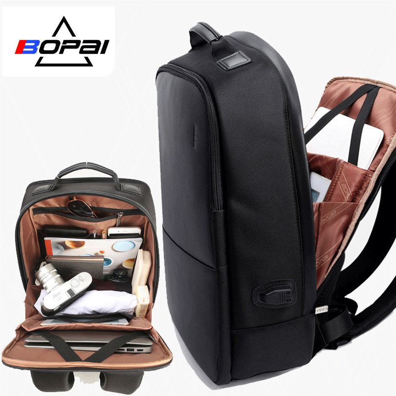 BOPAI Brand Men <font><b>Laptop</b></font> Backpack USB External Charge Computer Shoulders Anti-theft Backpack 15 inch Waterproof <font><b>Laptop</b></font> Backpack