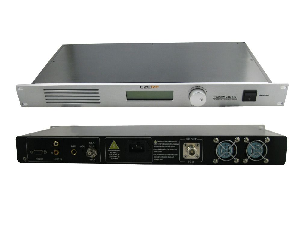 50W CZE-T501 FM transmitter 0-50w power adjustable radio broadcaster RDS port 1/4 ANTENNA kit