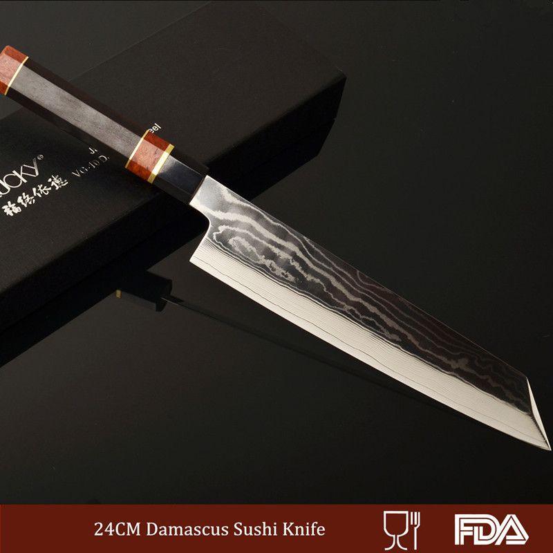 Professional Kiritsuke Damascus-patterned Blade Core VG10 Chef Knife Sushi/Sashimi Cutting Raw Fish Filleting Ebony Handle 2.1.1