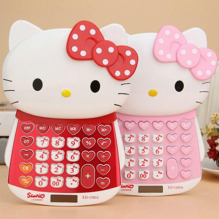 Calculatrice de puissance double Hello Kitty pile AAA + calculatrice d'affichage solaire à usage général à 12 chiffres, livraison sans batterie