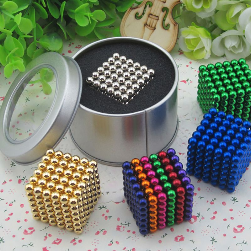 216 pcs/pack 5mm Magic Magnetic Game 16 Kinds DIY Cubes Balls Puzzle Magnets Board Game with  Metal Box