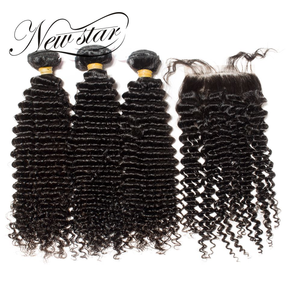 NEW STAR Deep Curl 3 Bundles With Closure Brazilian Free Part Cuticle Aligned Virgin Human Weave Hair Extension Natural Color