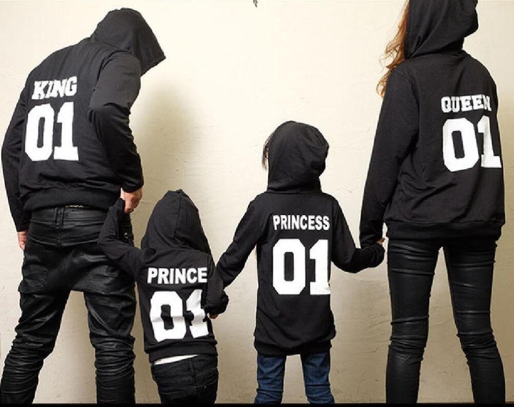 2017 Automne Hiver Couple Vêtements Hoodies ROI Reine Princesse Prince Impression Shirts Amant Pull pour Homme et Femmes Enfants