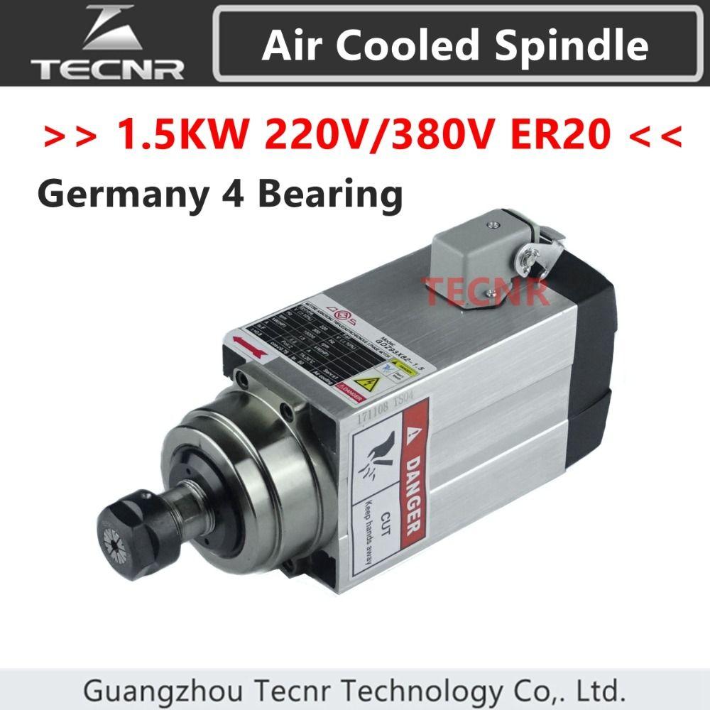 4pcs Ceramic Bearings 1.5KW air cooled spindle motor 220V 380V ER20 runout-off 0.01mm
