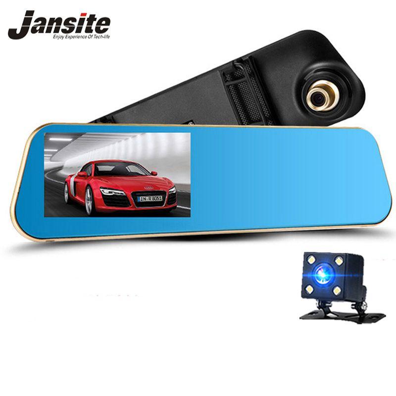 Jansite 1080 P voiture Dvr bleu rétroviseur double lentille voiture caméra deux caméras boucle enregistrement enregistreur Auto enregistrement caméscope