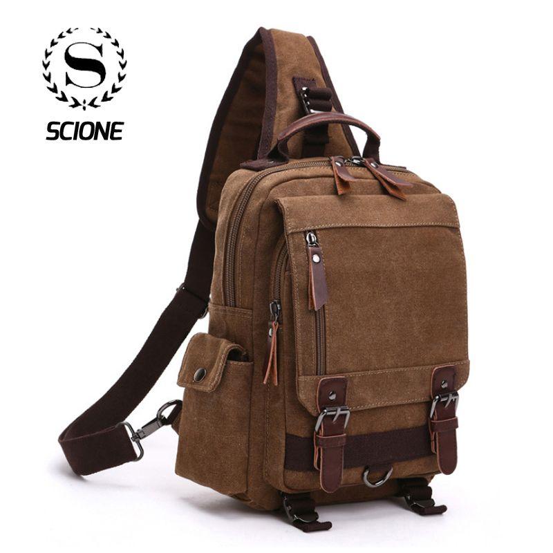 New Style 16 Oz Canvas Chest Bag Women Men Boys Girls Travel Fashion Casual Vintage Unisex Shoulder Bags Brusttasche bolso