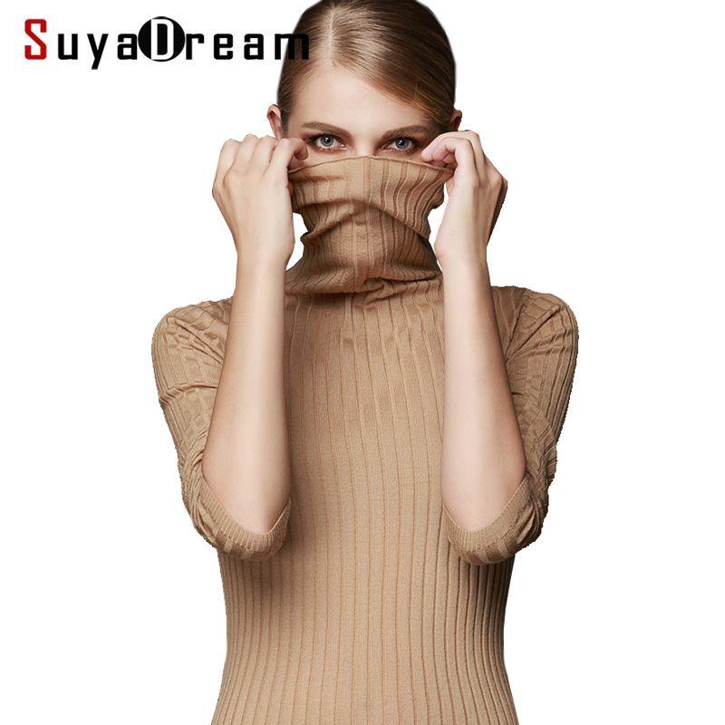 Pull laine femme 100% pull laine pour femme col roulé côtes tricots hiver blanc noir kaki Bottoming pull femme