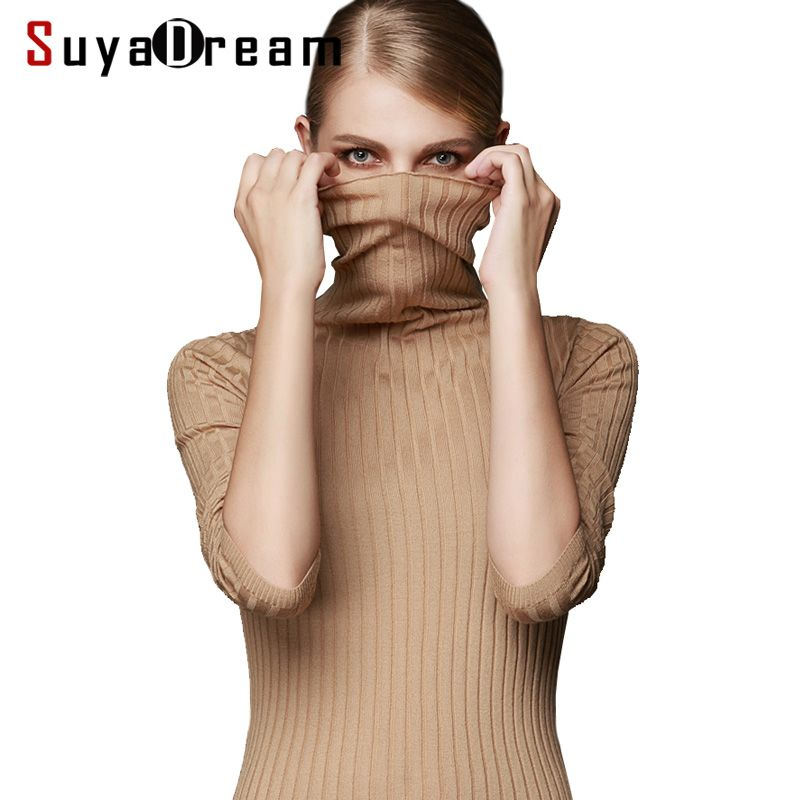Women Wool Pullover 100%Wool Sweater For Women Turtleneck Rib Knits Winter Sweaters White Black Khaki Bottoming pull femme
