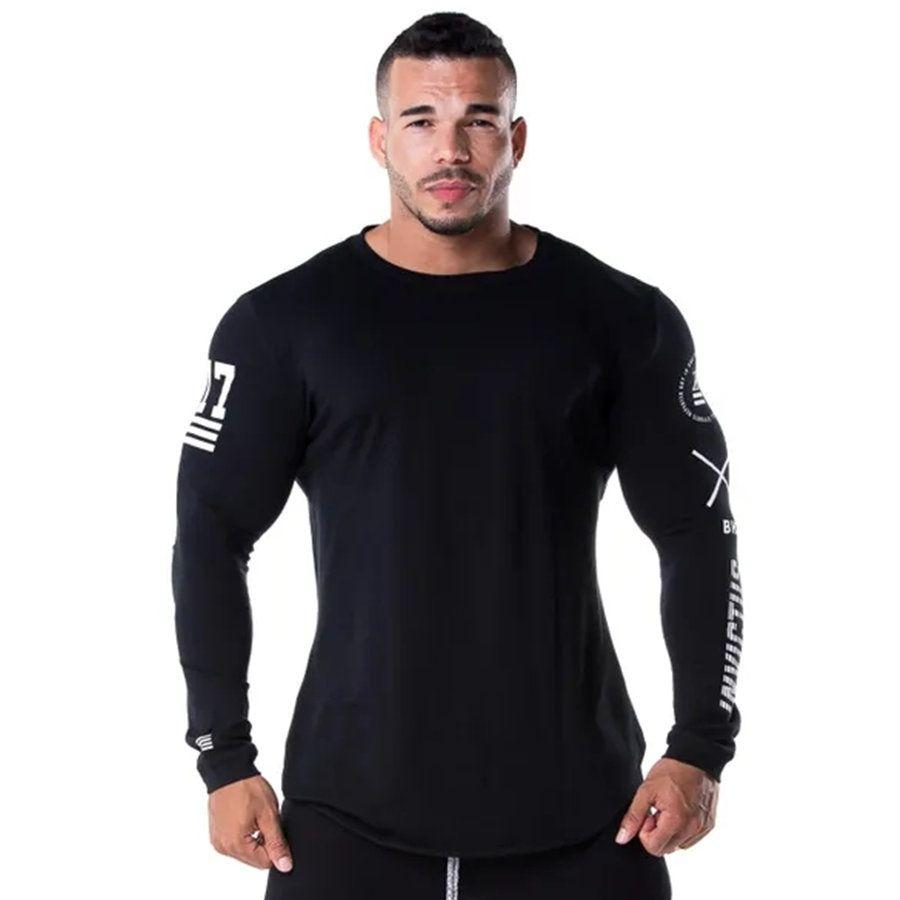 Men Running Sport Long sleeve Shirts Gym Fitness Skinny T-shirt Male Bodybuilding Jogging Training Black Tee Tops Brand Clothing
