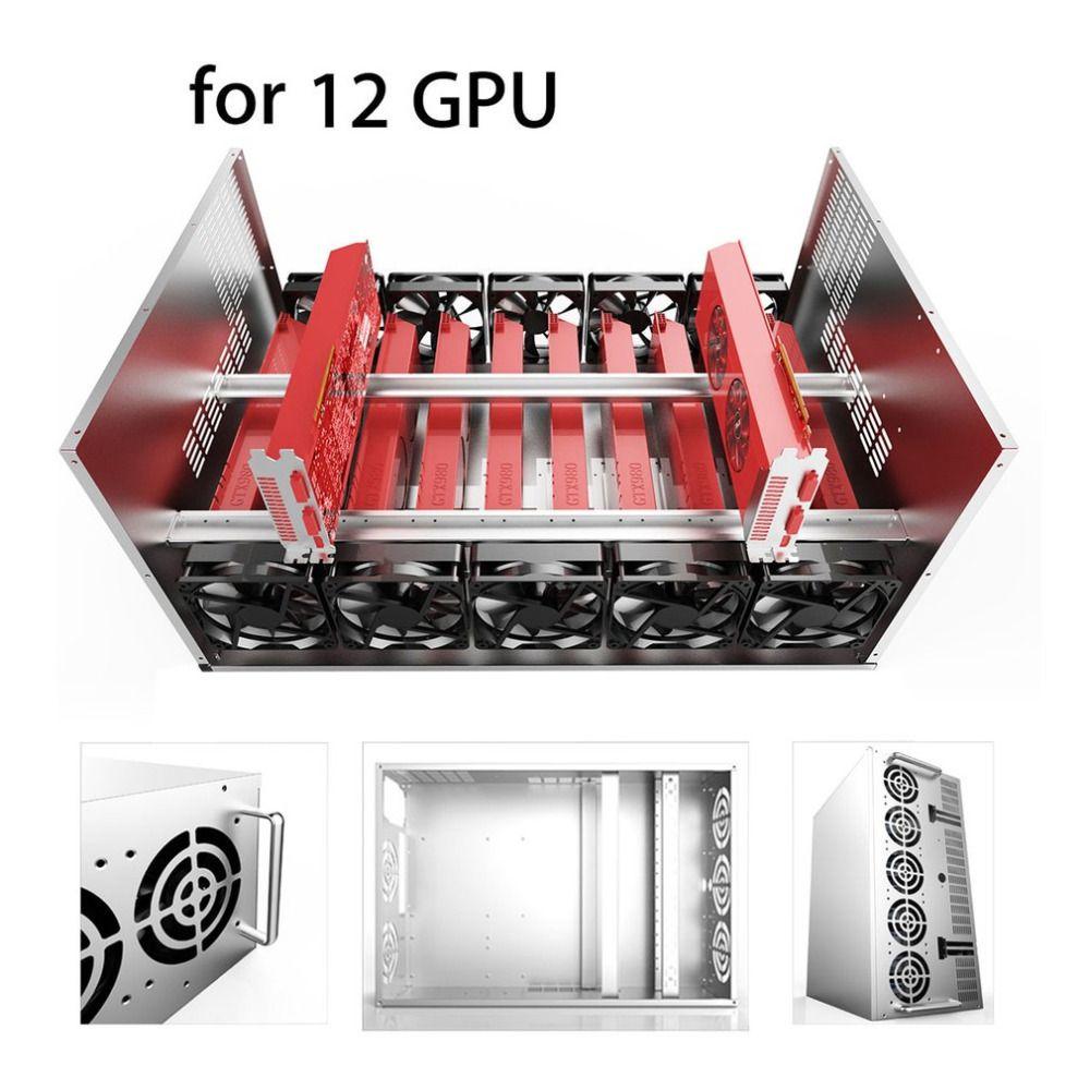 Crypto Münze Open Air Bergbau Rahmen Rig Grafiken Fall ATX Fit 12 GPU Ethereum ETH ETC ZEC XMR Magnalium Legierung 12 cm Fans