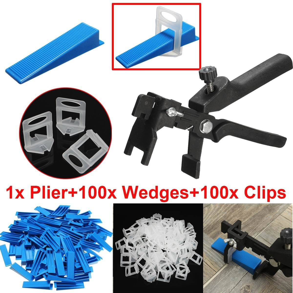 201 fliesen Nivellierung System 100 Keile + 100 Clips + Zange Boden Wand Spacer Kit 3mm