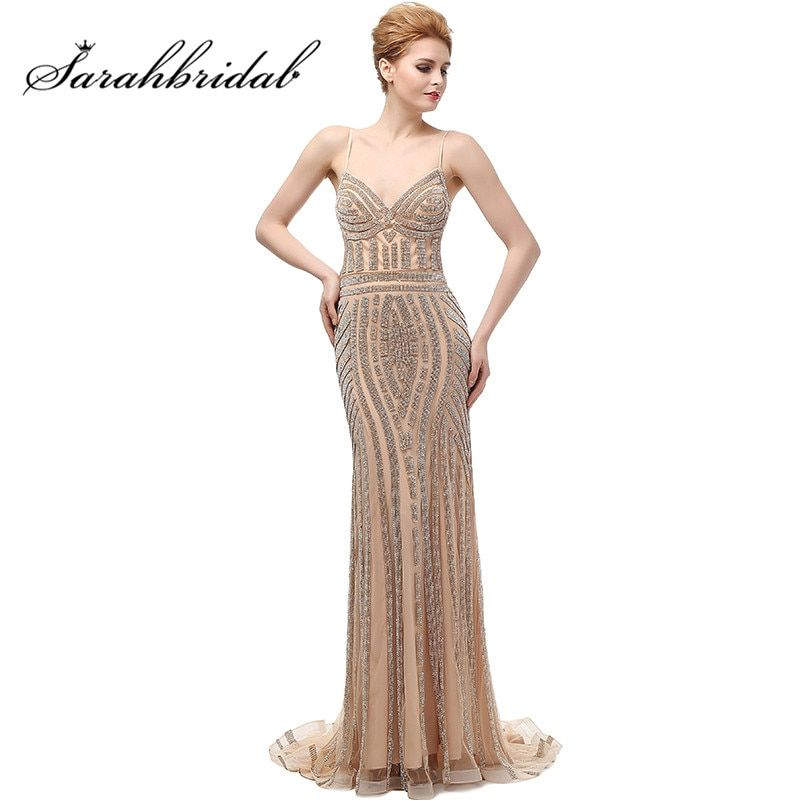 2017 New Luxury Dubai Mermaid Evening Dresses Champagne Crystal Backless Long Party Gowns Spaghetti Straps Robe De Soiree CC116