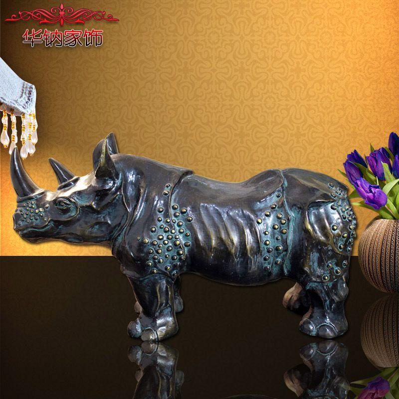 Retro Bronze Craft Ornaments To Do The Old Office Lobby Desk Rhinoceros Bull Resin Gifts buddha statue sculpture escultura buda