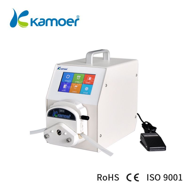 Kamoer Peristaltic Pump with Step Motor, High Accuracy/Precision, High Flow Rate, Foot Switch Support, Food Safe, Touch Screen