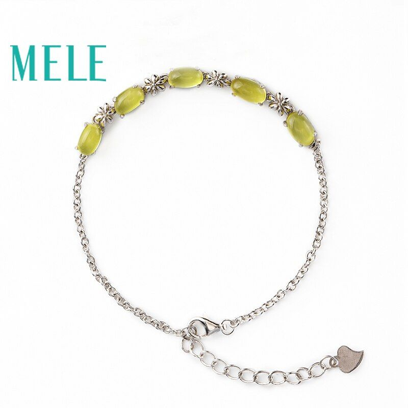New Bracelet in April 2018,MELE Natural grape stone 5ct Yellowish green ,real 925 sterling silver bracelet beautiful for women
