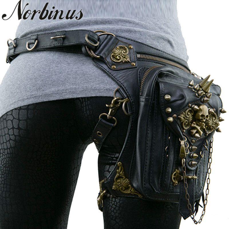 Norbinus Leder Niet Frauen Drop Bein Tasche Steampunk Retro Rock Taille Gürtel Tasche Männer Motorrad Crossbody Schulter Taschen Telefon Beutel