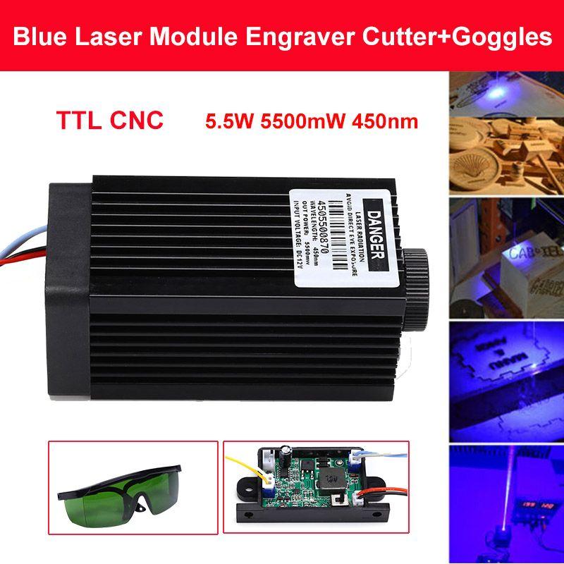 5,5 W 5500 mW 450nm Blau Laser Modul DIY laser kopf für CNC laser kopf gravur modul und laser cutter kopf mit Free Brille