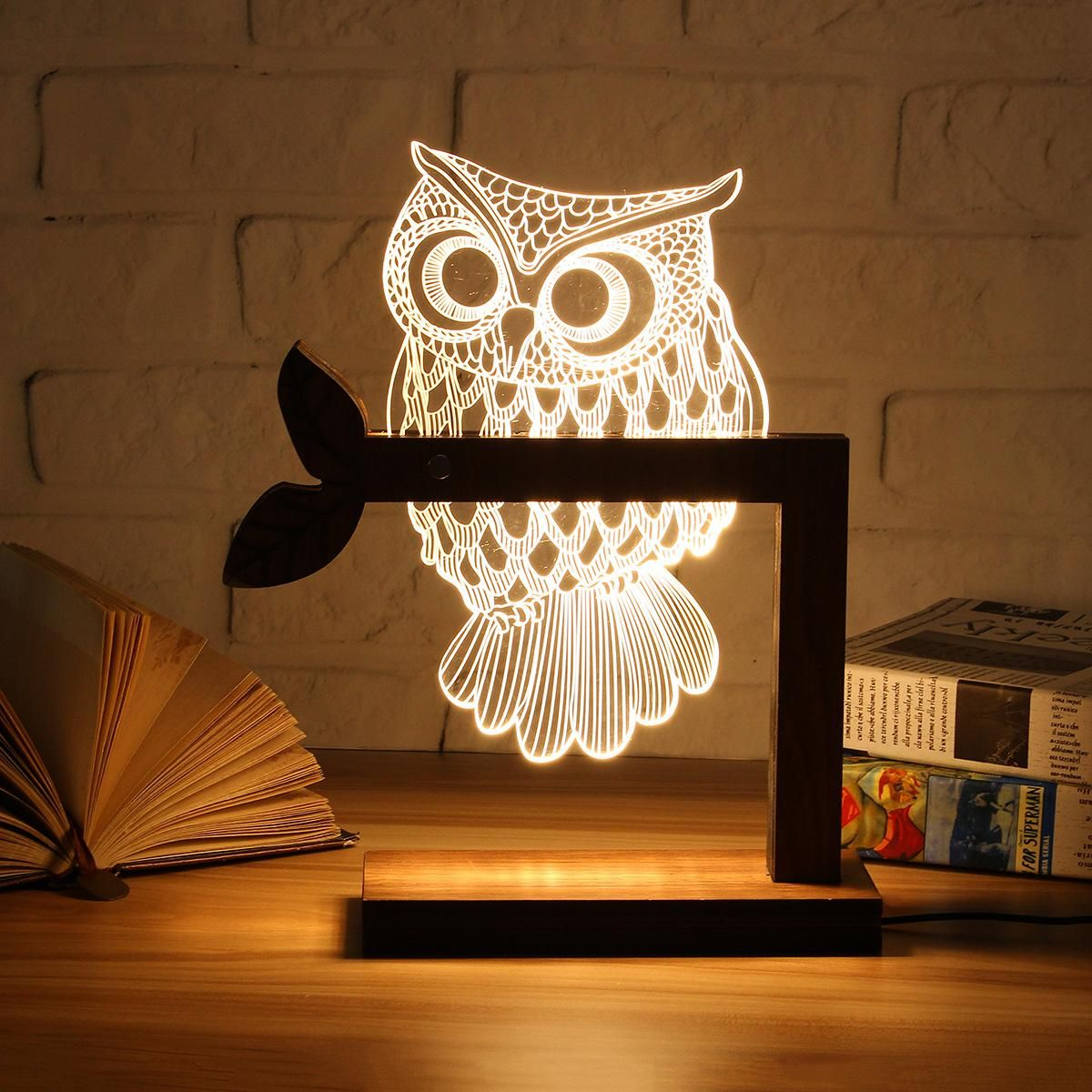 Wooden USB 3D LED Animal Butterfly OWL Night Light Warm Lighting Table Reading Lamps Bedroom Home Decor Birthday Gift