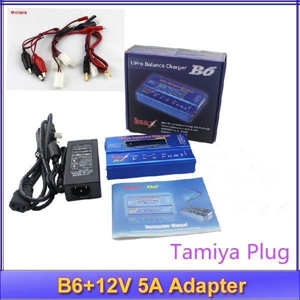 IMax B6 livraison gratuite Numérique LCD Lipo NiMh Équilibre de la batterie chargeur Tamiya Plug + Puissance Adaptateur 12 V 5A pas d'origine boîte