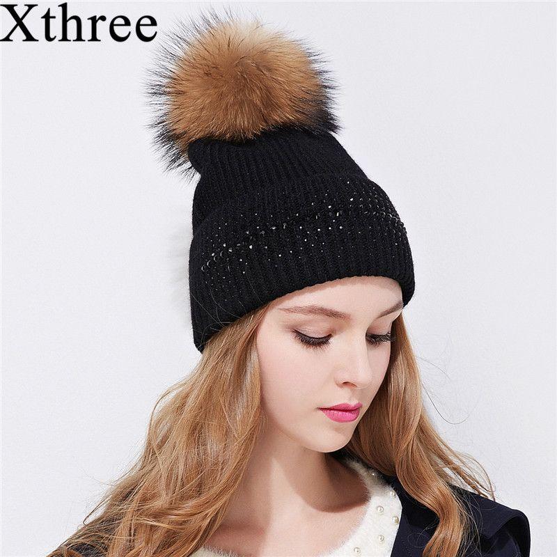 Xthree зимняя шапочка для женщин реального норки помпонами шерстяной вязаный девушки шляпа новый бренд Толстые женский шапка