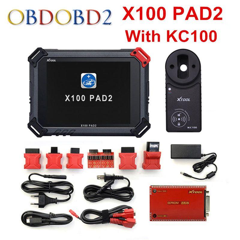 Original XTOOL X100 Pad2 Pro Selbstschlüsselprogrammierer Mit KC100 Für VW.. Pro PAD 2 EPB EPS OBD2 Kilometerzähler Multidiag-Sprachen