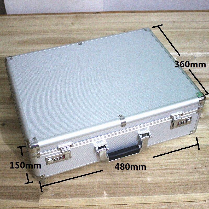 De haute qualité boîtier en aluminium outil cas boîte à outils 47*35*14 cm-fort boîte de compteur valise boîte à fichiers instrument cas avec verrou valise