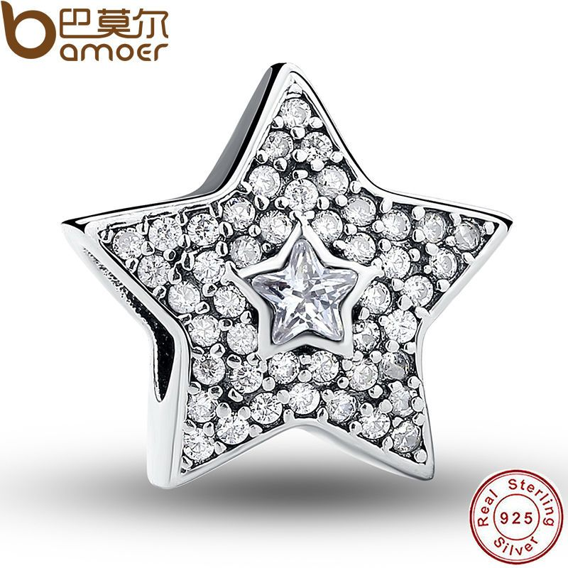 Authentic 925 Sterling Silver Wishing Star Charm Fit Bracelet With Clear Cubic Zirconia DIY Accessories Superstar PAS070
