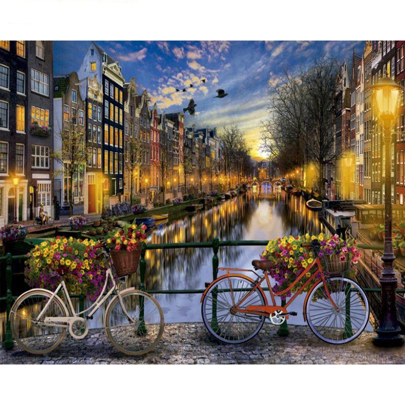 Peinture par numéros bricolage livraison directe 50x65 60x75cm belle Amsterdam vue paysage toile mariage décoration Art image cadeau