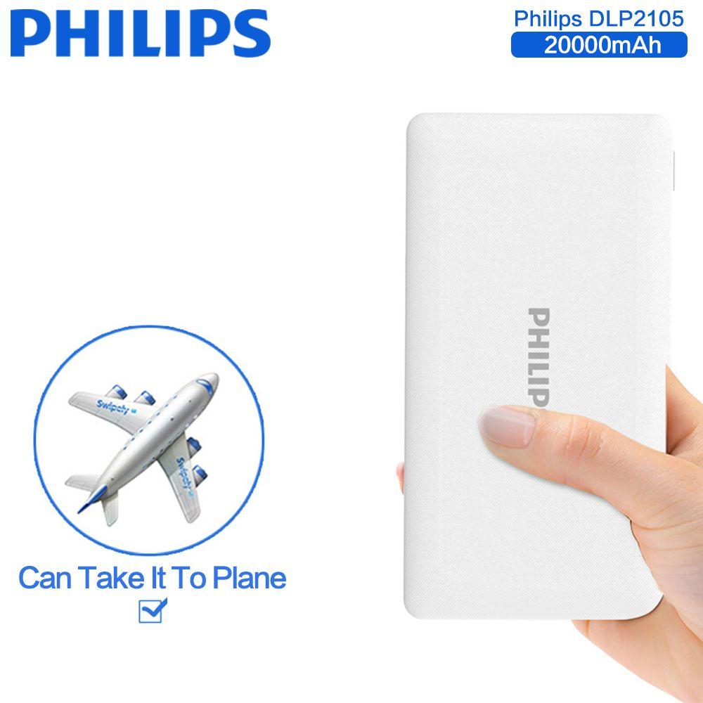 Philips universel 20000 mah power bank portable batterie externe chargeur de secours pour iphone 5s 6s 7 plus samsung galaxy s8 plus