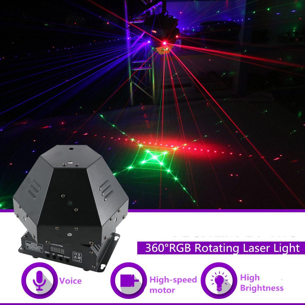 AUCD 360 Degree 11 Lens RGB Rotating Laser x2 + 4 In 1 LED laser Storbe Gobos Light x1 DJ Party Stage Lighting