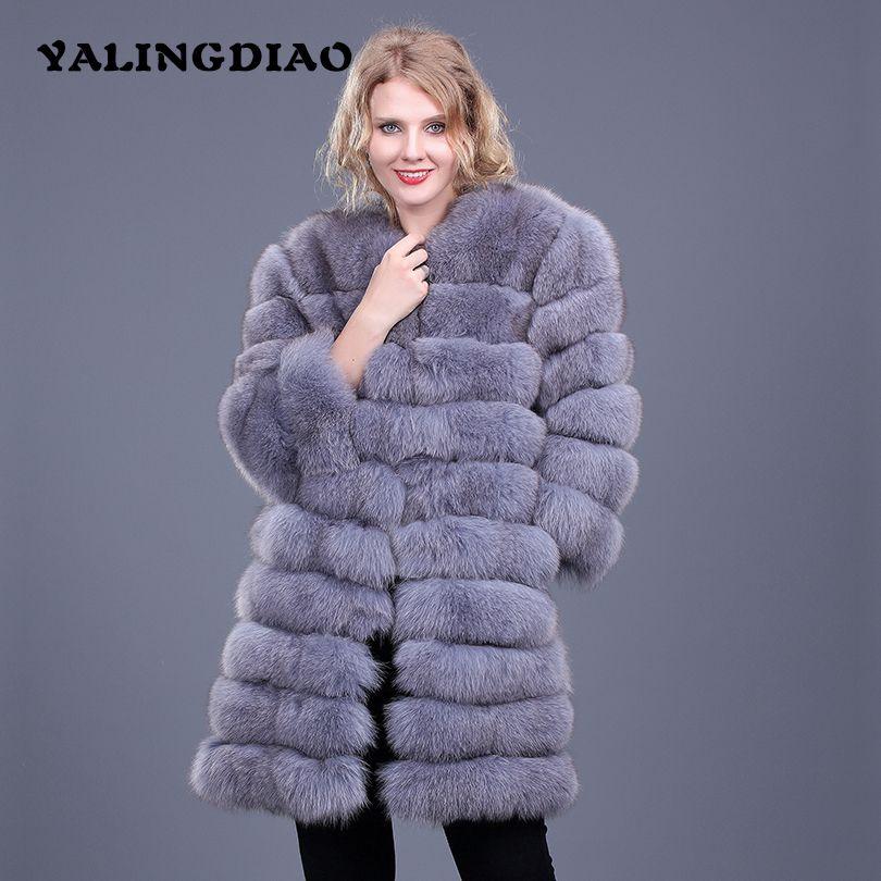 Women Real Fox Fur Coat New Winter Thick Warm Women Genuine Fur O-Neck Waistcoat Coat Nine Quarter Long Real Fur Jacket