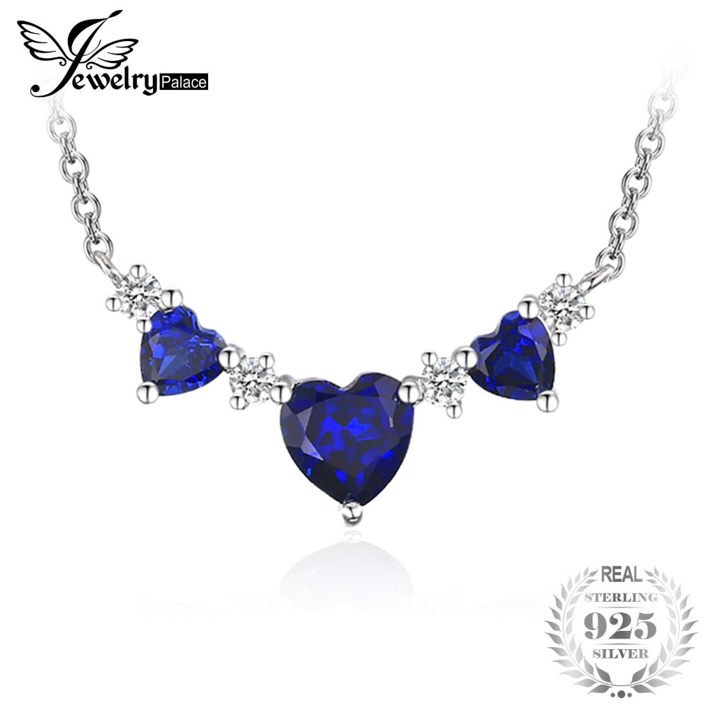 JewelryPalace Love Heart 1.8ct Created Sapphire Anniversary Necklace For Women 925 Sterling Silver Fine Jewelry Party Necklace
