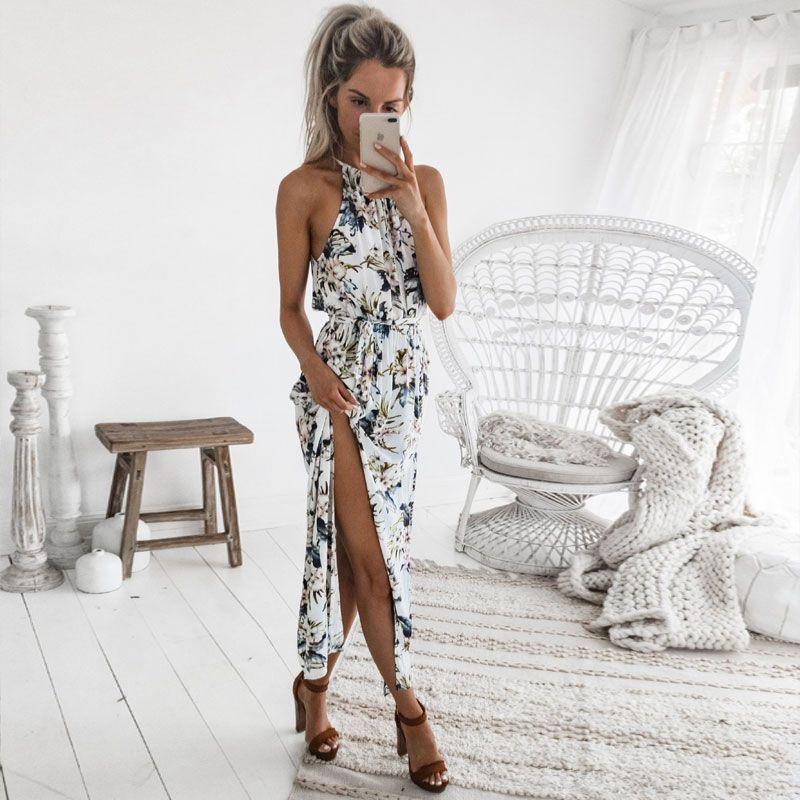 DeRuiLaDy 2019 Boho Floral Print Straps Long Dress Women Sexy Backless Summer Beach Maxi Dresses Womens Casual Vestidos Femme
