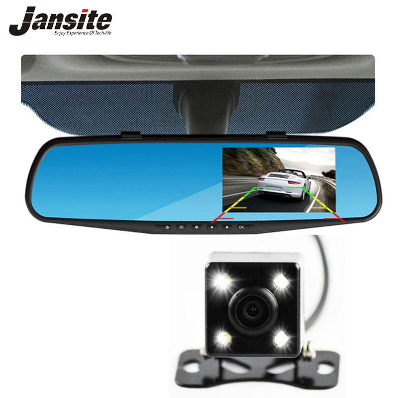 Jansite Car Camera Rearview Mirror Car Dvr Dual Lens Dash Cam Recorder Video Registrator Camcorder FHD <font><b>1080p</b></font> Night Vision DVRs